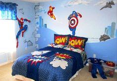 Superhero bedroom ideas - Superhero themed bedrooms - Superhero room decor - superhero bedroom decorating ideas - Superheroes bedroom ideas - Decorating ideas Avengers rooms - superhero wall murals - Comic Book bedding - marvel bedroom ideas - Superhero B Marvel Bedroom, Batman Bedroom, Boys Bedroom Decor, Bedroom Themes, Bedroom Ideas, Bedroom Designs, Bedroom Wall, Nursery Ideas, Superhero Room Decor