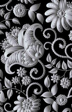 Antiqued,antiqued,silver,floral,design,vintage,old,on black background