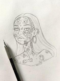 Indie Drawings, Art Drawings Sketches Simple, Pencil Art Drawings, Cool Drawings, Sketch Art, Drawing Ideas, Tattoo Drawings, Tattoos, Trippy Drawings