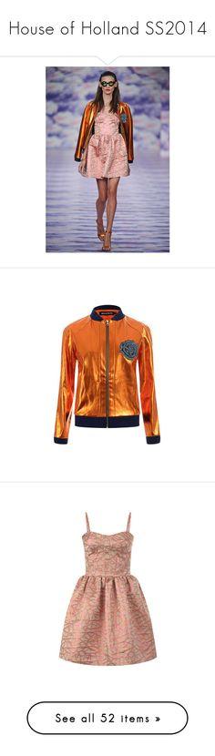 """House of Holland SS2014"" by hydrangea4 ❤ liked on Polyvore featuring outerwear, jackets, orange jacket, pleather jacket, college jacket, varsity bomber jacket, teddy jacket, dresses, vestido and sweet heart dress"