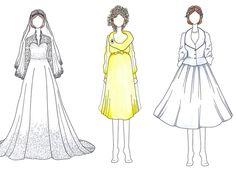 Vestidos de noiva de fashionistas como Kate Middleton e Bianca Jagger viram ilustrações