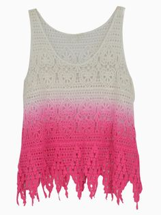 Pink Dip Dye Crochet Tank Top | Choies