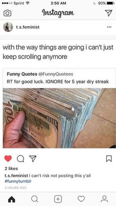 I'm not even posting for the so called 'luck' lol, I'm reposting 'cuz it's hilarious Funny Quotes, Funny Memes, Hilarious, Jokes, Chain Messages, Tumblr Stuff, Thats The Way, Tumblr Funny, Dumb And Dumber
