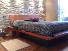 Fantastic stone wall in this bedroom