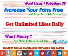 Free Facebook Likes, Increase YouTube Views, Get Twitter Followers