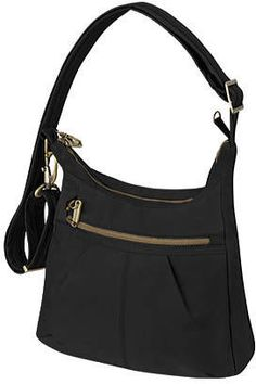 396f246ff5 Travelon Women's Anti-Theft Signature Top Zip Shoulder Bag - Black Casual  Handbags Travel Around