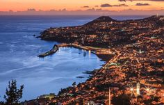 Funchal by night, Madeira, Portugal Portugal, Madeira Beach, Funchal, Archipelago, Hotels And Resorts, Wonders Of The World, Beautiful Places, Amazing Places, Cool Photos