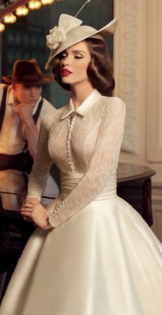 Vintage style wedding dress with button front and collar. Are you planning a vintage style wedding? Shop our vintage and antique inspired engagement rings at www.Feltnoir.com! The perfect engagement ring site for all budgets and every bride-to-be.