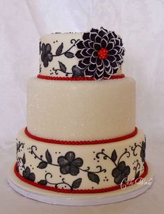 Black White And Red Fantasy Flower Thank you DStauch on Cake Central for your wonderful and inspiring icing sheet flower tutorial! Pretty Cakes, Beautiful Cakes, Amazing Cakes, Black White Cakes, Red Black, Cupcake Cakes, Cupcakes, Cake Central, Wafer Paper