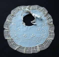 Antique Vintage Embroidered White Work Baby Blue Bib Lace Trim