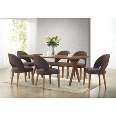 Lucas Mid-Century Style Walnut 7-Piece Dining Set | Overstock.com Shopping - The Best Deals on Dining Sets