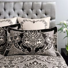 I like the dramatic effect of the singe motif and the way it worhs with the simpler pattern on the cushions. Dorma Black Verona Bedlinen Collection at Dunelm Verona Collection, Bed Pillows, Cushions, Linen Bedding, Bed Linen, Dramatic Effect, Cotton Silk, Soft Furnishings, Home Accessories
