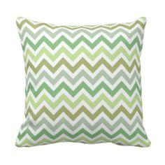 Green Ombré Chevron Zigzag Stripes Pillow