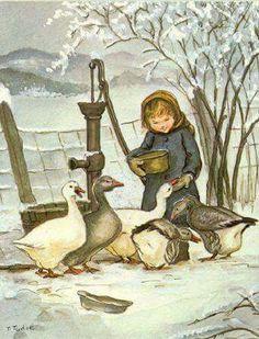 Tasha Tudor illustration of girl feeding ducks. Winter Illustration, Christmas Illustration, Children's Book Illustration, Illustrations, Fairytale Art, Christmas Art, Yule, Vintage Children, Tudor