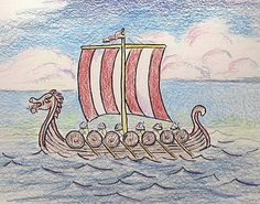 Have kids draw a viking ship, then have them write a paragraph paper about three things they have learned from studying the vikings? Boat Drawing, Ship Drawing, Viking Ship, Viking Art, Ship Illustration, Viking Longship, Norwegian Vikings, 4th Grade Art, Art Lessons For Kids