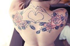 Back tattoo ~ #heart #tattoo #art #roses