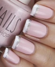French nails with natural bottom with white tips and silver too. Wedding/maid of honor nails?