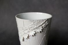 Secession - porcelain decoration by lace Lace Vase, Porcelain, Pure Products, Elegant, Decoration, Tableware, Classy, Decor, Porcelain Ceramics