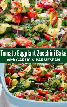 Tomato Eggplant Zucchini Bake with Garlic, Parmesan, and olive. A gorgeous and easy way to use up extra summer veggies! {healthy, low carb, gluten free} via - Tomato Eggplant Zucchini Bake with Garlic and Parmesan Vegetable Side Dishes, Side Dishes Easy, Side Dish Recipes, Vegetable Recipes, Vegetarian Recipes, Dinner Recipes, Cooking Recipes, Healthy Recipes, Healthy Eggplant Recipes