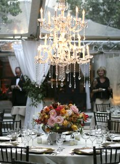 Statement crystal chandeliers! Gathering Floral + Event Design