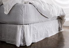 Linen Bedskirt in sable-floss