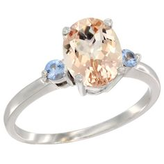 14K White Gold Natural Morganite Ring Oval 9x7 mm Light Blue Sapphire Accent, size 5.5, Women's