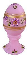 Fenton  Lavender Satin Egg  with Handpainted Floral Design and Metallic Accents