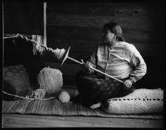 Coast Salish Weaver using a Spindle Whorl, 20th Century