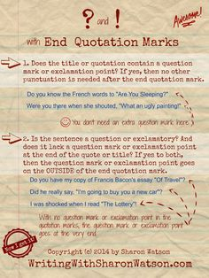 Infographic punctuation with end quotation marks writing