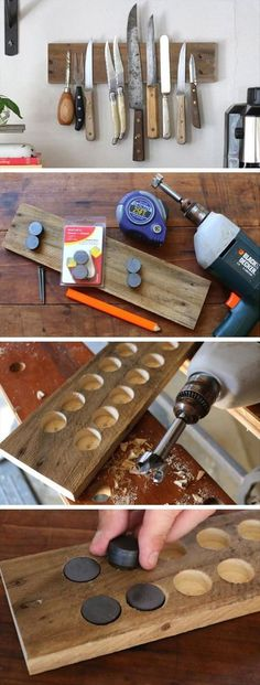 DIY Rustic Wall Rack: This exposed magnetic knife rack is super useful for maxim. - DIY Rustic Wall Rack: This exposed magnetic knife rack is super useful for maximizing storage space - Fun Diy Crafts, Wood Crafts, Crafts To Sell, Crafts For Kids, Magnetic Knife Rack, Magnetic Strips, Diy Rustic Decor, Rustic Design, Rustic Chic