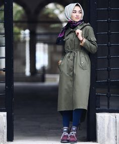 Jeans, black bracelet, olive green shirt dress, purple and white printed scarf, purple shoes