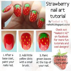 #strawberry #red #green #nails #tutorials #learn