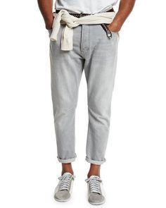 BRUNELLO CUCINELLI RELAXED-FIT WASHED-DENIM JEANS, LIGHT GRAY. #brunellocucinelli #cloth #