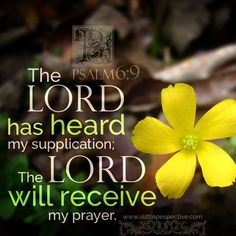The LORD has heard my supplication; the LORD will receive my prayer. Psa 6:9. <3