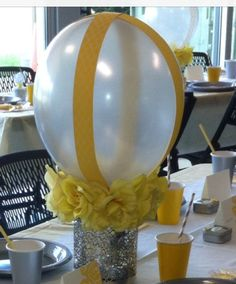 Yellow and gray baby shower center piece