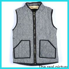 Womens Fall fashion Herringbone Vest Designer Inspired black denim Vest Quilted Cotton Puffer Vest plus Size M-3XL