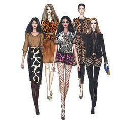Runway Fashion Illustration Print, Animal Print Series, Wall Art... ($30) ❤ liked on Polyvore featuring home, home decor and wall art
