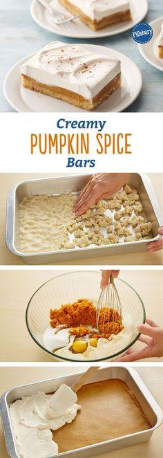 Creamy Pumpkin Spice Bars: Chai concentrate adds a surprise spice flavor in these creamy pumpkin bars.