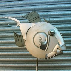 Little cutie - couldn't possibly eat one of these! #triggerfish #fish #fishing #hubcapcreatures #recycle #upcycle #ford