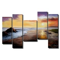'Tranquil Beach' 5-piece Gallery-wrapped Hand Painted Canvas Art Set - Free Shipping Today - Overstock.com - 15327178 - Mobile