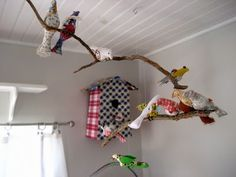 Project for B's room. Hang over bed. Paper mâché using pretty paper or stuffed cute fabric birds?