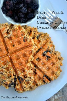 Gluten-Free and Dairy-Free Cinnamon Cherry Oatmeal Waffles #glutenfree