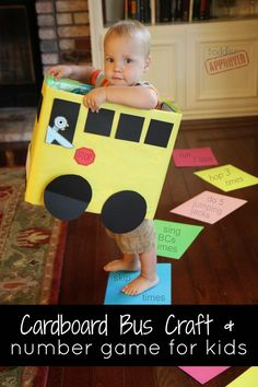 Cardboard crafts Numbers - Cardboard Box Bus Craft & Number Game for Kids Mo Willems Virtual Book Club for Kids Toddler Play, Toddler Crafts, Preschool Activities, Motor Activities, Cardboard Bus, Cardboard Crafts, Cardboard Furniture, Number Games For Kids, Fun Games