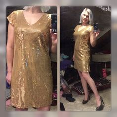Holiday Golden Sequin Mini Dress-Gorgeous! NWT Sparkling & Covered w/Gold Sequins on Both Front & Back!  V-Neck, Cap Sleeves & 2 Side Slits.  Completely Lined interior.  (Has Attached Bag w/Extra Sequins)  Never Worn Besides for These Photos!  Will Easily Fit Sizes 2-5. Meet Mark./Avon Dresses Mini