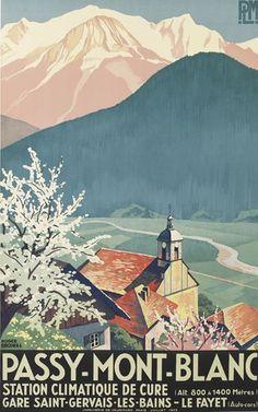PLM - Passy - Mont-Blanc - Gare Saint-Gervais-les-Bains - Le Fayet - 1932 - illustration de Roger Broders - France -