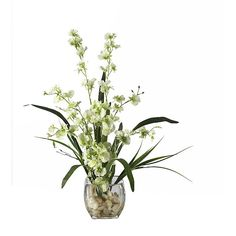 Outstanding floral decor from this Dancing Lady green Orchid silk arrangement with rocks and acrylic water in small vase, which is presented by ExcellentSilkFlowers.com.