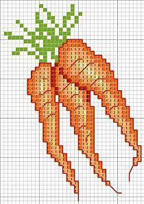 Carrots X-stitch chart Cross Stitch Sea, Cross Stitch Fruit, Cross Stitch Kitchen, Cross Stitch Cards, Cross Stitch Flowers, Cross Stitching, Cross Stitch Embroidery, Square Patterns, Cross Stitch Patterns