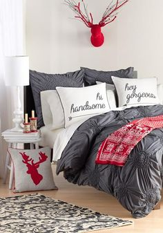 Furniture, Levtex Hey Gorgeous Hey Handsome Pillows With Pillows With Sayings Pillows With Sayings On Them As Decorative Bed Pillows For Bedrooom With Gray White And Red Color ~ Pillows With Saying For Your Bedroom And Living Room That Awesome And Cute