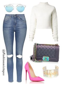 """Untitled #52"" by divamanda on Polyvore featuring Chanel, Topshop, Christian Louboutin, Dion Lee and Christian Dior"