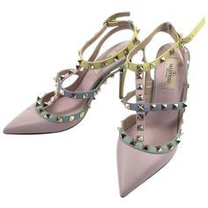 Pre-owned Valentino Watercolor Rockstud Studded High Heels Size 36.5... ($710) ❤ liked on Polyvore featuring shoes, pastel, pastel shoes, pre owned shoes, high heel shoes, studded high heel shoes and studded shoes